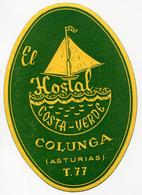 ETICHETTA VALIGIE PUBBLICITà EL HOSTAL COSTA VERDE COLUNGA ASTURIAS LUGGAGE LABEL - Hotel Labels