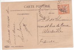 MAROC Timbre Type MOUCHON Surcharge 15 Protectorat Français Seul / CP Cachet MARRAKECH-MEDINA > France - Marokko (1891-1956)