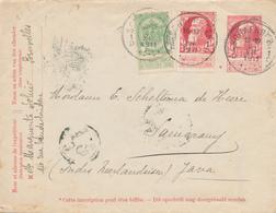 766/26 - Entier Enveloppe Grosse Barbe + TP Dito SCHAERBEEK 1911 Vers SEMARANG Indes Néerlandaises - TTB Destination - Stamped Stationery