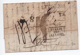 """1830 - LETTRE De LIVORNO Pour CETTE Avec CACHET D'ENTREE """"ITALIE PAR ANTIBES"""" - Storia Postale"""
