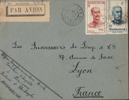 Vignette Blanche Par Avion PTT Madagascar E N°131 Lettre D'un écrivain Interprète YT 308 314 CAD Kiangara 8 Oct 1950 - Aéreo