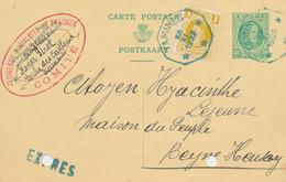 771/26 - Entier Postal Houyoux + TP Dito En EXPRES Télégraphique TAMINES En BLEU 1927 -Cachet Jeunesse Socialiste Comité - Postcards [1909-34]