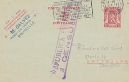 772/26 - Entier Postal Petit Sceau BRUXELLES 1937 Vers BARCELONA - Censure Républicaine Espagnole - Postcards [1934-51]