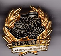 Pin's RENAULT CHAMPION DU MONDE 92 SIGNE ARTHUS BERTRAND - Renault