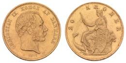 Christian IX., 1863-1906, 20 Kroner, 1876, Kratzer, Rs.,  KM 791.1, Vz - Denmark