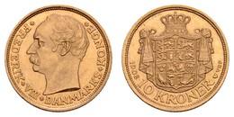Frederik VIII. 1906-1912, 10 Kroner, 1908, Kopenhagen, VBP = Münzmeister Vilhelm Burchard Poulsen,  Fried. 298 Hede 2 KM - Denmark