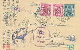 773/26 - Entier Postal Petit Sceau COUVIN 1943 Vers O.C.A. LISBONNE - Transféré Vers  Grande-Bretagne - Censure Anglaise - Guerre 40-45