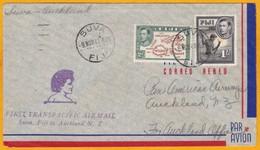 1941 - WW2 - Enveloppe De Suva, Fiji, GB Vers Auckland, Nelle Zélande, 1er Vol Transpacifique  - Cad  Arrivée - Fiji (...-1970)