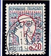 Type MARIANNE DE COCTEAU - 20c Bleu Et Rouge   N° 1282 Obl. - Oblitérés