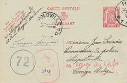 774/26 - Entier Postal Petit Sceau NAMUR 1945 Vers LEOPOLDVILLE - Transféré Vers CAPETOWN  - Censures Belge Et Anglaise - Guerre 40-45