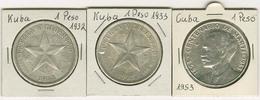 Republik, 1 Peso, 1932, Dazu 1933 Und 1953, Zusammen 3 Silberstücke,  KM 15.2, 29 - Cuba
