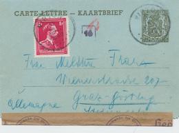 775/26 - Entier Carte-Lettre Petit Sceau + TP Col Ouvert VIRTON 1940 Vers L' Allemagne - Censure Allemande Cologne - Guerre 40-45