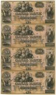 Republik, 20 $ (4), Ohne Jahr, Canal Bank, New Orleans, Louisiana, Bogen Mit 4x 20 Dollars, 19. Jahrhundert (Jahresangab - United States Of America