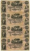 Republik, 100 $ (4), Ohne Jahr, Canal Bank, New Orleans, Louisiana, Bogen Mit 4x 100 Dollars, 19. Jahrhundert (Jahresang - United States Of America