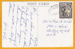 1958 - CP Photo De Suva, Fiji, GB Vers Chicago, USA - Affrt 1 Sh Pêche Au Lamparo - Vue La Côte à Gau - Fiji (...-1970)