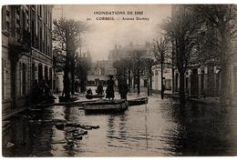 INNONDATIONS 1910 CORBEIL AVENUE DARBLAY BARQUES TRES ANIMEE - Corbeil Essonnes
