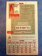 Buvard Ancien, RETARCYL Laboratoires ANA, Paris XIIe - Calendrier 1954 - Produits Pharmaceutiques