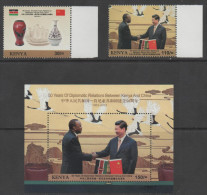 KENYA, 2013,MNH, DIPLOMATIC RELATIONS WITH CHINA, BIRDS, MOUNTAINS, SHIPS, FLAGS, ELEPHANTS,PRESIDENTS,2v+S /SHEET,SCARC - Oiseaux