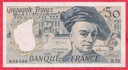 """50 Francs """"Quentin De La Tour"""" 1992 Série H.72------F/TTB+ - 50 F 1976-1992 ''Quentin De La Tour''"""