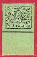 Etats Pontificaux N°12 2c Noir Sur Vert (bord De Feuille) 1867 (*) - Etats Pontificaux