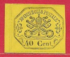 Etats Pontificaux N°17 40c Jaune 1867 (*) - Etats Pontificaux