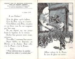 Calendrier 1919 Militaria Patriotique - WW1 Arc De Triomphe Secours D'Urgence Dans Les Régions Libérées Illustrateur Sem - Petit Format : 1901-20