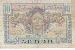 Billet 10 F Trésor Français 1947 FAY VF 30.1  N° A03377910 - Tesoro