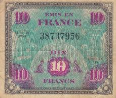 Billet 10 F Verso Drapeau 1944 FAY VF 18.1 - Schatkamer