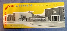 Buvard Ancien Anglais - HADRIAN PAINTS & SYNFLAT, Job Of The Month July 1954- Castle Bromwich Modern School - Blotters