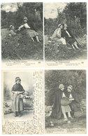 4 CPA Types Creusois, Paysannes, Couple   ( S.2975 ) - France
