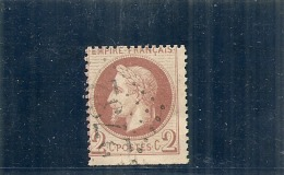 FRANCE  Napoléon Lauré 2 Cts Brun Rouge - Piquage Limite à Cheval - Dentelure Certainement Hors Feuille - Côte  Mini50&e - 1863-1870 Napoleon III Gelauwerd
