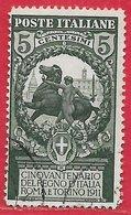 Italie N°89 5c (+5c) Vert Foncé 1911 O - 1900-44 Victor Emmanuel III