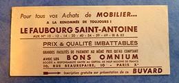 Buvard Ancien - Le FAUBOURG SAINT ANTOINE Pour Tous Vos Achats De MOBILIER, Bons Omnium Pour Crédit - Blotters