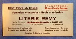 Buvard Ancien - LITERIE REMY PARIS 12e - Sommiers Et Matelas, Neufs Et Réfection - Buvards, Protège-cahiers Illustrés