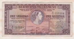 Bermuda 5 Shillings 1 May 1957 Victoria, Série T/I 757519. - Bermudes