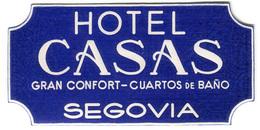 ETICHETTA VALIGIE PUBBLICITà HOTEL CASAS SEGOVIA SPAGNA LUGGAGE LABEL - Hotel Labels