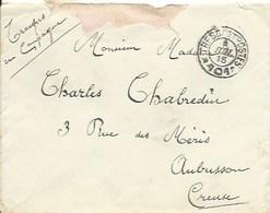 Enveloppe En Franchise : Toute En Campagne Avec Cachet Trésor Et Postes 101 Pour Aubusson - Marcophilie (Lettres)