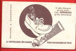"""Buvard Ancien """" AUFRABLANC""""  Pour Chaussures De Toile Blanches - Illustration Surréaliste - La Chaussure Mange Un Tube - Zapatos"""