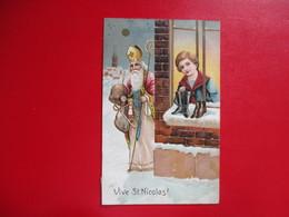 CPA FANTAISIE GAUFREE VIVE SAINT NICOLAS PETIT GARCON CHAUSSURES ST NICOLAS JOUETS - Saint-Nicholas Day