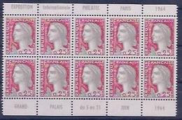 FRANCE - 1263 . MARIANNE DECARIS BLOC DE 10 AVEC PUB PHILATEC - Carnets