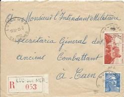 TP 841A Et 886 Sur Enveloppe En Recommandé De Luc Sur Mer Pour Caen - Marcophilie (Lettres)