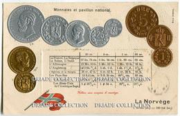CARTOLINA CON RAPPRESENTAZIONE A RILIEVO MONETE MONNAIES ET PAVILLON NATIONAL LA NORVEGE NORVEGIA KRONE - Monete (rappresentazioni)