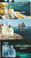 Dolce&Gabbana   3 Promo Cartes Format Carte Postale Pour ITALIAN ZEST(recettes De Cocktails Au Verso ) - Cartes Parfumées