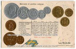 CARTOLINA CON RAPPRESENTAZIONE A RILIEVO MONETE MONNAIES ET PAVILLON NATIONAL LA SUEDE SVEZIA KRONA - Monete (rappresentazioni)