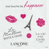 """LANCÔME  Planche De 8 Stickers : """"Une Touche De Happiness"""" - Cartes Parfumées"""
