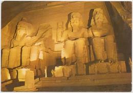 Abu Simbel Temple, Illuminated By Night, Egypt, Used Postcard [21205] - Abu Simbel Temples
