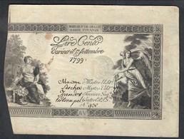 SARDO PIEMONTESI REGIE FINANZE 100 LIRE 01 09 1799 Ottimo Esemplare Q.spl Lotto 1857 - Sonstige