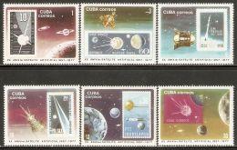 1977 Mi# 2208-2213 ** MNH - Sputnik (1st Artificial Satellite), 20th Anniv. / Space - Cuba