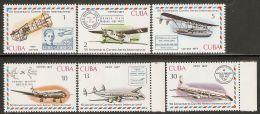 1977 Mi# 2248-2253 ** MNH - Intl. Airmail Service, 50th Anniv. / Airplanes - Nuevos