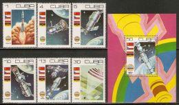 1979 Mi# 2384-2389, Block 58 ** MNH - Cosmonaut's Day / Space - Cuba